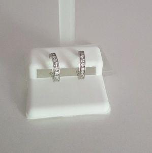 Sterling silver and cubic zirconia hoop earrings